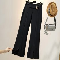 Women's large Autumn 2020 Black, this item is a random coat or pants for clearance L [recommended 100-115 kg], XL [recommended 115-130 kg], 2XL [recommended 130-145 kg] trousers singleton  commute easy moderate Solid color Korean version polyester 25-29 years old 51% (inclusive) - 70% (inclusive)