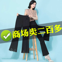Casual pants Black lace, black split S,M,L,XL,2XL,3XL Summer 2021 Ninth pants Flared trousers High waist Thin money 25-29 years old 81% (inclusive) - 90% (inclusive)