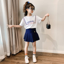 suit Other / other 110cm,120cm,130cm,140cm,150cm,160cm,170cm female summer leisure time Short sleeve + skirt 2 pieces Thin money There are models in the real shooting Socket nothing Solid color cotton children Giving presents at school Class B Cotton 95% other 5% Chinese Mainland
