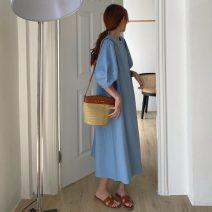 Dress Summer 2021 Apricot, blue Average size Mid length dress singleton  Short sleeve Solid color