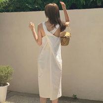 Dress Summer 2021 White, black Average size Mid length dress Sleeveless Other / other