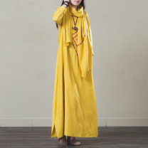 Yoga clothes S,M,L,XL,XXL Only yellow dress, yellow dress + yellow scarf female Other / other other female sex Spring and summer Cotton and hemp Socket Long sleeves
