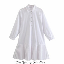 Dress Spring 2021 white XS,S,M,L Middle-skirt singleton  Nine point sleeve Sweet Polo collar Socket routine Type A Button More than 95% other Ruili
