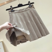 skirt Autumn of 2019 S,M,L,XL Khaki, apricot, black Short skirt commute High waist A-line skirt Solid color Type A 25-29 years old 31% (inclusive) - 50% (inclusive) other Other / other fold Korean version