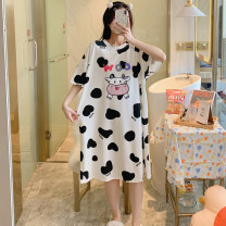 Nightdress The beauty of China is delicate and beautiful 160(M),165(L),170(XL),175(XXL) Sweet Short sleeve pajamas Middle-skirt summer Cartoon animation youth Crew neck cotton printing More than 95% pure cotton 015# 200g and below