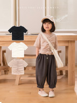 T-shirt White, black, pink, black pre-sale Other / other 2Y (90cm), 3Y (100cm) (sweet), 4Y (110cm), 5Y (120cm), 6y (130cm), 7Y (140cm) female spring and autumn Short sleeve Crew neck leisure time There are models in the real shooting nothing cotton Solid color Cotton 100% Sweat absorption