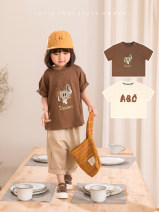 T-shirt Cheese, caramel, cheese pre-sale Other / other 2Y (90cm), 3Y (100cm) sweet, 4Y (110cm), 5Y (120cm), 6y (130cm), 7Y (140cm), 8y (150cm) female summer Short sleeve Lapel and pointed collar leisure time There are models in the real shooting nothing cotton Solid color Sweat absorption