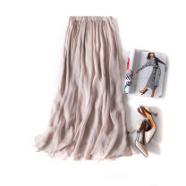 skirt Spring of 2019 Mid length dress Versatile Natural waist Solid color Type A More than 95% Silk and satin silk