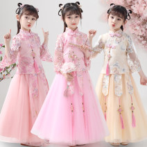 Dress female Kafelan 110cm 120cm 130cm 140cm 150cm 160cm Other 100% spring and autumn Chinese style Long sleeves Broken flowers other A-line skirt Class B Spring 2021 3 years old, 4 years old, 5 years old, 6 years old, 7 years old, 8 years old, 9 years old, 10 years old, 11 years old, 12 years old