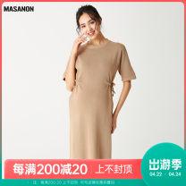Dress MASANON Black, khaki, apricot M, L Europe and America Short sleeve Medium length summer Crew neck Solid color