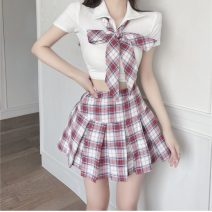 Fashion suit Summer 2021 S,M,L White top + plaid skirt 18-25 years old 81% (inclusive) - 90% (inclusive)