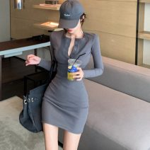Dress Winter 2020 Dark grey, black Average size Short skirt singleton  Long sleeves other High waist Socket One pace skirt routine 18-24 years old Type H 71% (inclusive) - 80% (inclusive) knitting cotton