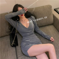 Dress Spring 2021 Gray, black Average size Short skirt singleton  Long sleeves commute V-neck High waist Solid color Socket One pace skirt routine 18-24 years old Type H fold 51% (inclusive) - 70% (inclusive) brocade polyester fiber