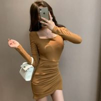 Dress Winter 2020 Ginger, black S,M,L,XL singleton  Long sleeves commute square neck Others 18-24 years old 81% (inclusive) - 90% (inclusive) cotton