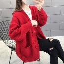 Women's large Spring 2021, winter 2021, autumn 2021 Red, beige Knitwear / cardigan singleton  commute easy moderate Cardigan Long sleeves Korean version V-neck routine