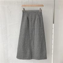 skirt Autumn 2020 S,M,L Picture color Mid length dress commute High waist skirt lattice Type H 18-24 years old More than 95% zipper Korean version