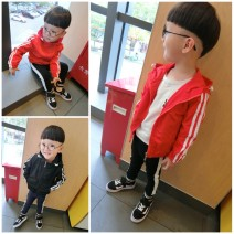 Plain coat Other / other male 90cm 100cm 110cm 120cm 130cm Red and black spring and autumn Korean version Zipper shirt There are models in the real shooting routine No detachable cap other chemical fiber Crew neck Polyester 100% Class B