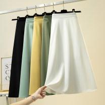 skirt Summer 2021 S,M,L,XL,2XL White, black, yellow, green, blue, light gray, pink longuette Versatile High waist A-line skirt Solid color Type A 25-29 years old GGJ901 More than 95% other Ocnltiy polyester fiber Pleated, zipper