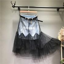 skirt Summer 2021 S,M,L,XL,2XL Picture color belt longuette commute High waist Fairy Dress letter Type A Denim Ocnltiy cotton Ol style