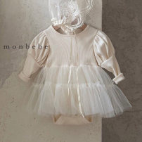 Dress Grey, apricot, pink female Other / other 66cm,73cm,80cm,90cm Cotton 95% other 5% spring and autumn Korean version Long sleeves Solid color cotton Princess Dress Class A 3 months, 12 months, 6 months, 9 months, 18 months, 2 years old