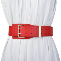 Belt / belt / chain Double skin leather Red black coffee brown apricot female Waistband grace Single loop Youth, middle age and old age Pin buckle Geometric pattern Glossy surface alloy alone Cold weapon LBQ1052 Spring 2021
