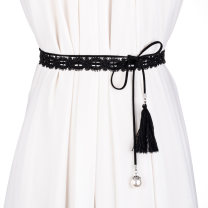 Belt / belt / chain cloth White black female belt Sweet Single loop Children: 1-6 years old, young, middle-aged and old bow soft surface 2cm Cold weapon Spring of 2019