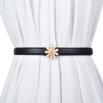 Belt / belt / chain top layer leather Black white red dark green coffee female belt Versatile Single loop Children: 1-6 years old, young, middle-aged and old a hook Flower design Frosting alloy flower Cold weapon LBQ1057 Spring 2021