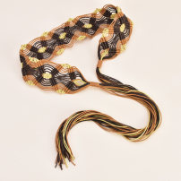 Belt / belt / chain Wax rope Green Blue Coffee Yellow female Waistband Versatile Single loop Youth, middle age and old age bow soft surface 6.0cm Color contrast of woven bow Cold weapon LBQ0190 Summer of 2019