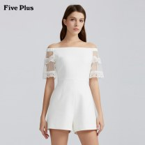 Casual pants Off white 010 yellow 410 black 090 XS S M L Summer of 2019 shorts Jumpsuit Natural waist Versatile 25-29 years old Five Plus Polyester 92.8% polyurethane elastic fiber (spandex) 7.2% Same model in shopping mall (sold online and offline)