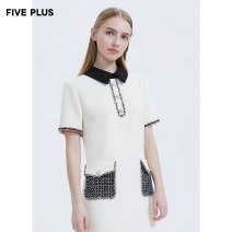 Dress Summer 2020 Off white 010 black 090 XS S M L Short skirt singleton  Short sleeve commute Polo collar High waist Solid color Socket Princess Dress routine 25-29 years old Type H Five Plus Simplicity More than 95% polyester fiber Polyester 95.2% polyurethane elastic fiber (spandex) 4.8%