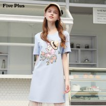 Dress Summer of 2019 XS S M L Short skirt Short sleeve street Crew neck Loose waist Cartoon animation Socket routine 25-29 years old Type H Five Plus 31% (inclusive) - 50% (inclusive) nylon Same model in shopping mall (sold online and offline) Sports & Leisure