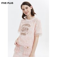 Lace / Chiffon Spring 2020 Light pink 133 apricot 870 XS S M L Short sleeve Versatile Socket easy Regular Crew neck other routine 25-29 years old Five Plus 2RA1011370 Polyamide fiber (nylon) 100% Same model in shopping mall (sold online and offline)