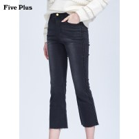 Jeans Winter of 2019 Black 090 XS S M L Ninth pants High waist Flared trousers routine 25-29 years old Dark color 2ZN3065820 Five Plus Cotton 63.8% viscose fiber (viscose fiber) 34.5% polyurethane elastic fiber (spandex) 1.7% Same model in shopping mall (sold online and offline)