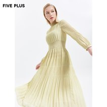 Dress Spring 2020 Light green 560 XS S M L Mid length dress singleton  Long sleeves Sweet stand collar High waist Solid color Socket Princess Dress routine 25-29 years old Type X Five Plus fold 2RN1082420 More than 95% Chiffon polyester fiber Polyester 100% solar system