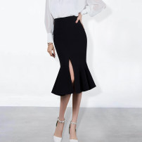 skirt Summer 2020 XS,S,M,L,XL Black [thin / for spring and summer], black [thick / for spring and winter] Mid length dress commute High waist skirt Solid color Type H 25-29 years old WQ2002 91% (inclusive) - 95% (inclusive) other Weimu Weiyi other Ruffle, zipper, stitching Ol style