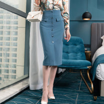 skirt Spring 2021 S,M,L,XL,2XL Coral blue Mid length dress commute High waist skirt Solid color Type H 25-29 years old 91% (inclusive) - 95% (inclusive) other Weimu Weiyi other Ol style 401g / m ^ 2 (inclusive) - 500g / m ^ 2 (inclusive)
