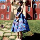 skirt Autumn 2020 XS,S,M,L,XL,2XL blue Mid length dress Retro High waist Fluffy skirt Decor Type A 30-34 years old More than 95% Poplin Cat cloth manufacturing cotton