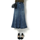 skirt Spring 2021 S,M,L,XL blue Mid length dress street Natural waist Ruffle Skirt Solid color Type A 25-29 years old 386191#1798-180913 More than 95% Denim Song flower cotton Lotus leaf edge Europe and America