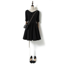Dress Summer 2021 black S,M,L,XL Short skirt singleton  elbow sleeve commute Polo collar High waist Solid color Socket Big swing routine Others 25-29 years old Type A Song flower Simplicity Zipper, V-neck 658290QQN1449-190301 30% and below other nylon