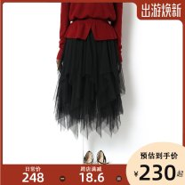 skirt Spring 2021 Average size black Mid length dress Versatile Natural waist Irregular Solid color Type A 25-29 years old 31% (inclusive) - 50% (inclusive) Lace Song flower Viscose Gauze