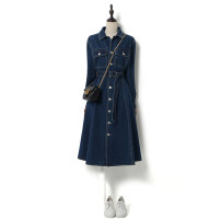 Dress Spring 2021 blue S,M,L,XL Mid length dress singleton  Long sleeves street Polo collar High waist Solid color Single breasted Big swing shirt sleeve Others 25-29 years old Type X Song flower Frenulum gcbinxilyq027-190929 More than 95% Denim cotton Europe and America