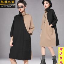 Dress Spring 2021 Black for camel, camel for black, pure black M,L,XL Mid length dress singleton  three quarter sleeve street stand collar Loose waist Solid color Socket A-line skirt other Others 25-29 years old Type H Charm to beauty 81% (inclusive) - 90% (inclusive) brocade cotton