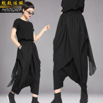 Casual pants black M,L,XL Spring 2021 Ninth pants loose  Natural waist original routine 25-29 years old 51% (inclusive) - 70% (inclusive) Charm to beauty Cotton blended fabric pocket nylon Asymmetry