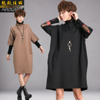 Dress Spring 2021 Black, camel M, L Mid length dress singleton  three quarter sleeve street High collar Loose waist Solid color Socket A-line skirt raglan sleeve Others 25-29 years old Type H Charm to beauty Three dimensional decoration 81% (inclusive) - 90% (inclusive) brocade cotton