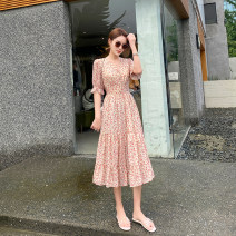 Dress Summer 2020 Decor S,M,L,XL,2XL longuette singleton  Short sleeve commute V-neck High waist Decor Single breasted Princess Dress Petal sleeve Type X Miao Ke ac0746 71% (inclusive) - 80% (inclusive) Chiffon