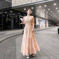 Dress Summer 2020 Decor M,L,XL longuette singleton  Short sleeve commute V-neck Elastic waist Decor Single breasted Ruffle Skirt Petal sleeve Type X lady Ruffles, folds, stitching, buttons ac0435 71% (inclusive) - 80% (inclusive) Chiffon