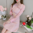 Dress Winter 2020 Pink S,M,L,XL Short skirt singleton  Long sleeves commute V-neck middle-waisted other Socket A-line skirt other Others 25-29 years old Type A Korean version 81% (inclusive) - 90% (inclusive) Wool