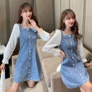 Dress Spring 2021 Picture color, short sleeve S,M,L,XL,2XL,3XL,4XL,5XL Miniskirt singleton  Long sleeves Sweet One word collar High waist Solid color Socket A-line skirt puff sleeve 18-24 years old Type A 91% (inclusive) - 95% (inclusive) Denim