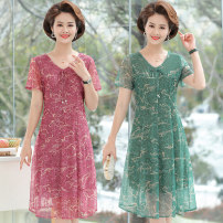 Middle aged and old women's wear Summer 2021 green , Watermelon red , Leopard green , Leopard red XL (for 80) - 105 kg) , 2XL (for 105) - 120 kg) , 3XL (for 120) - 135 kg) , 4XL (for 135) - 145 kg) , 5XL (for 145) - 160 kg) fashion Dress easy singleton  Decor 40-49 years old Socket thin V-neck