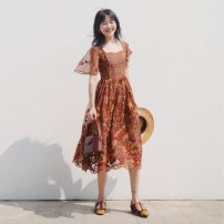 Dress Summer of 2019 Brown red long, brown red short XS,S,M,L Middle-skirt singleton  Short sleeve Sweet square neck High waist Decor Socket Big swing routine Others 18-24 years old Type X Vagrant Republic Embroidery, zipper 51% (inclusive) - 70% (inclusive) other other solar system